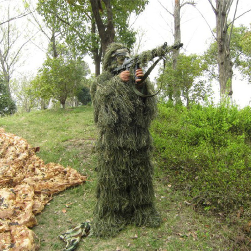 3D Universal Camouflage Suits Woodland Clothes Adjustable Size Ghillie Suit For Hunting Army Military Tactical Sniper Set