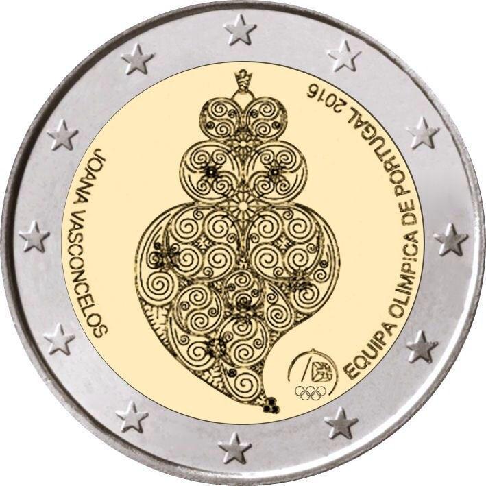 Moedas comemorativas bimetais de portugal 2016, moedas originais verdadeiras do euro coleção unc