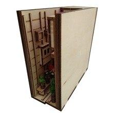 Holz Buch Nook Einsätze Kunst Buchstützen DIY Bücherregal Dekor Stand Dekoration Japanischen Stil Zu Hause Dekoration