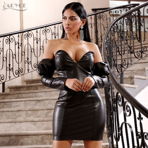 Image 4 - Adyce 2020 New Winter Sexy Black V Neck Off Shoulder Long Sleeve Party Dress Women PU Leather Club Evening Runway Mini Dresses