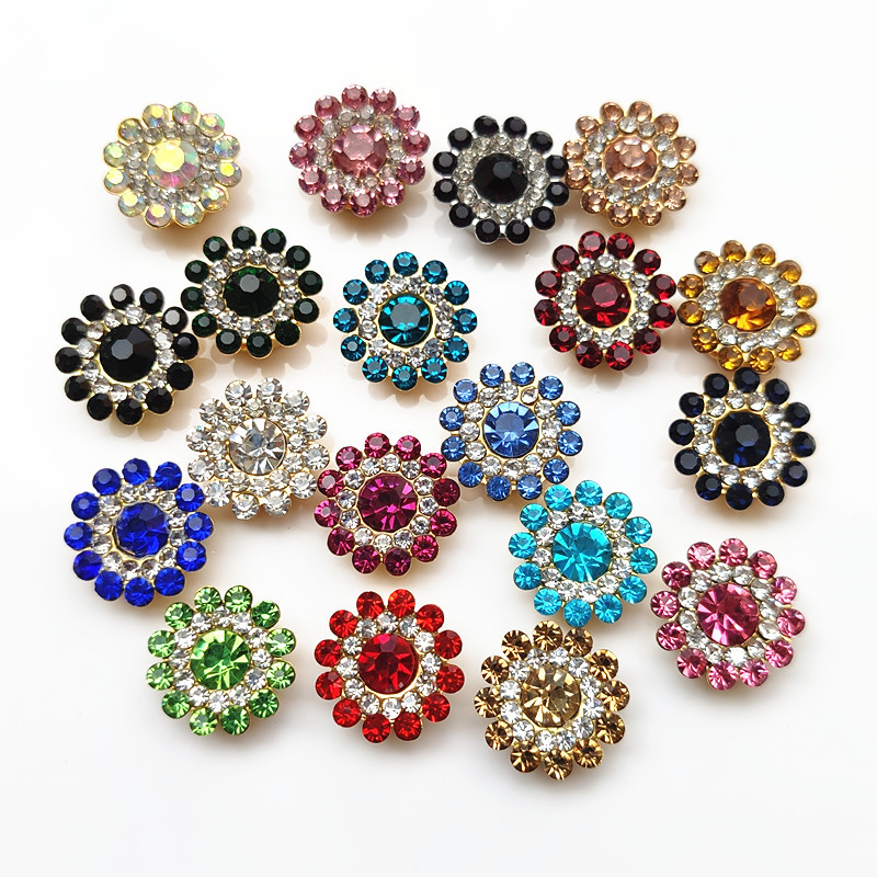50pcs10mm Multicolor Flower Beads Rhinestone Bezel Patch Crystal Cabochons Rould for Diy Jewelry Making Handmade Bow Accessories