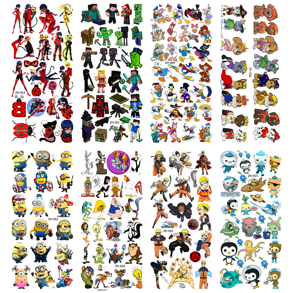 Cartoon Water Transfer Temporary Tattoos Children Tattoo Paper For Boy Kids 3D Tatoo Flash Fake Tatouage Cool Dog Stickers