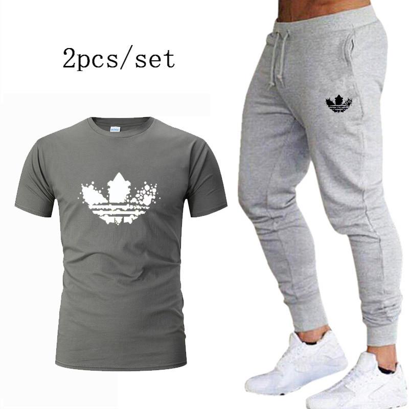 2 Pieces Sets Men's T Shirt+pants Suit Tracksuit male Set 2020 Harajuku Men Clothing Fitness Jogger Sportswear Plus Size S-2XL