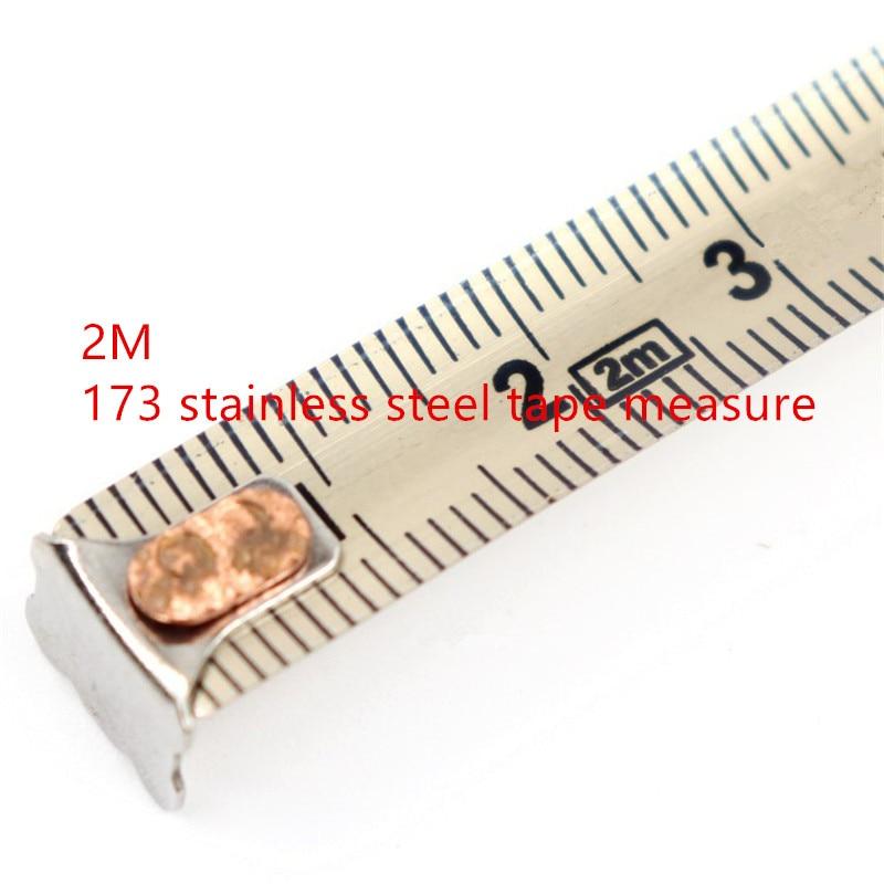 1PC 2 M 173 Steel Tape Measure Nickel Plated Tape With Waterproof Rust Tape Measure Household Meter Ruler Steel Tape Measure