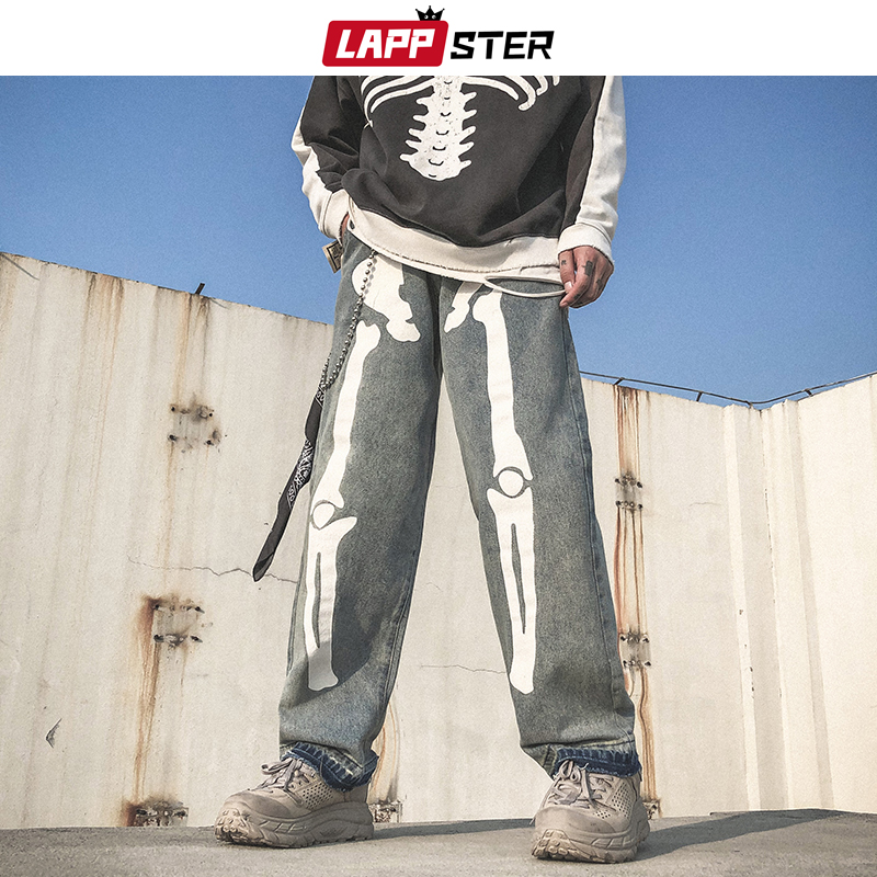 LAPPSTER Men Skeleton Oversized Black Jeans Pants 2019 Denim Mens Streetwear Hip Hop Harem Pants High Wasit Denim Pants Overalls