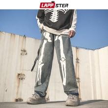 LAPPSTER Men Skeleton Oversized Black Jeans Pants 2020 데님 남성 Streetwear 힙합 하렘 바지 High Wasit 데님 바지 오버올
