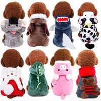 PUOUPUOU Lustige Hund Kleidung Winter Warme Haustier Hund Jacke Mantel Nette Hoodies für Kleine Mittelgroße Hunde Welpen Korallen Fleece Outfit XS-2XL