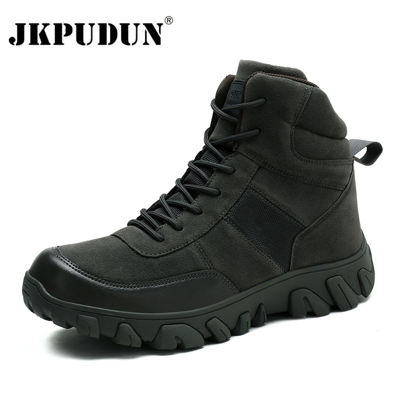 Tactical Military Combat Boots Men Genuine Leather US Army Hunting Trekking Camping Mountaineering Winter Work Shoes Bot JKPUDUN
