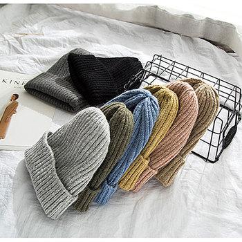New Knitted Hats for Women Men Skullcap Beanie Hat Winter Retro Brimless Baggy Melon Cap Cuff Docker Fisherman Beanies - discount item  8% OFF Hats & Caps