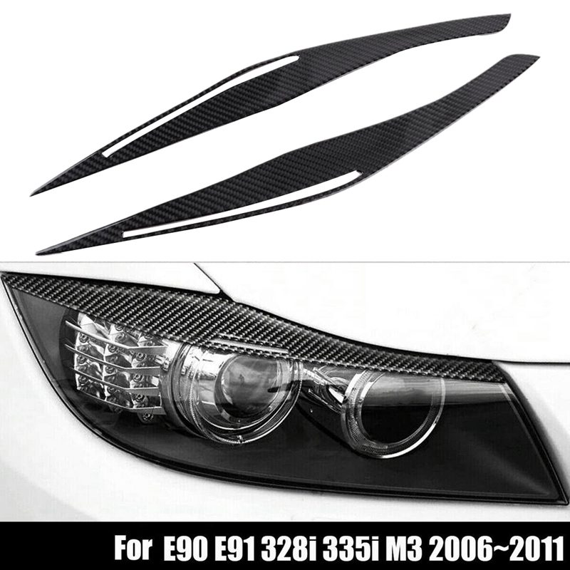 Carbon Fiber Headlight Eyelid Eyebrow Cover Stickers Trim For BMW E90 E91 328I 335I M3 2006-2011