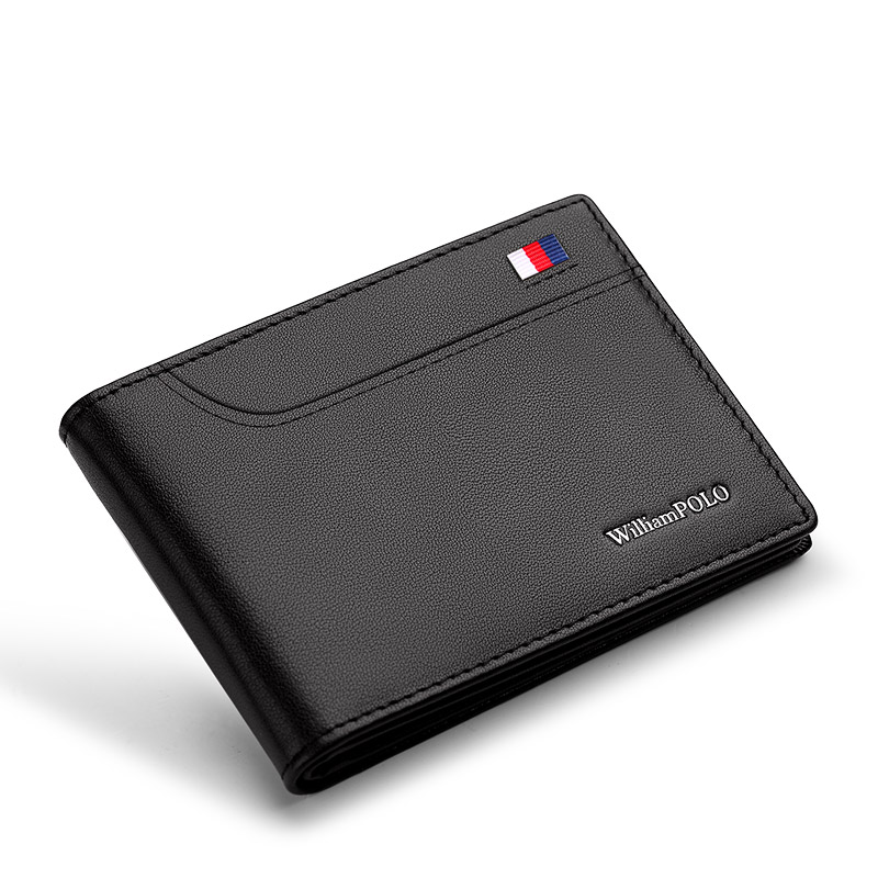William Polo Leather Mini Wallet Men's Slim Casual Design Bimodal Wallet Fashion Short Certificate Leather Case Ultra Thin Clip