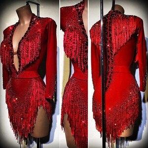 Женское платье для латиноамериканских танцев, платье для латиноамериканских танцев, красное платье со стразами