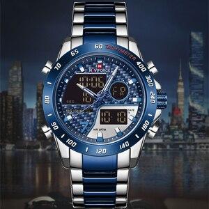 Image 2 - Mens Watches NAVIFORCE Waterproof Military Sports Quartz Full Steel Digital LED Wrist Watch Clock Male Relogio Masculino 2020