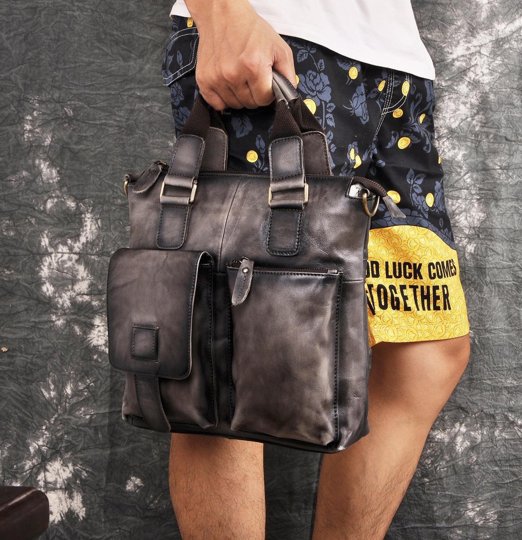 Men Quality Genuine Leather Designer Business Briefcase Casual 12