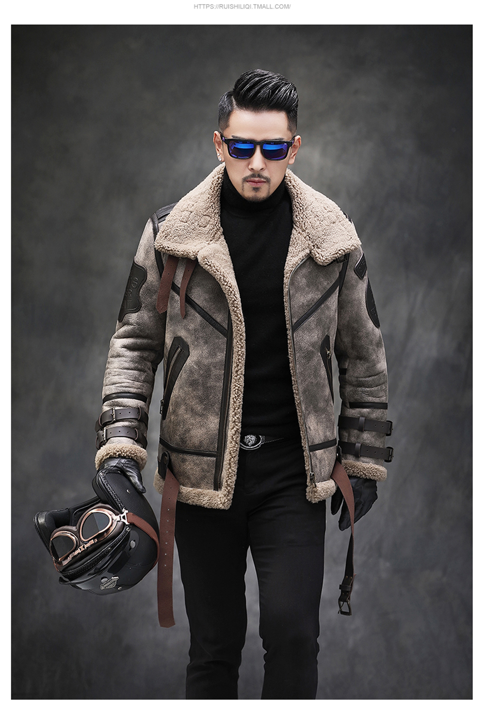 H30d59a466dcc46f49ccf8da3a7c23acdI 2019 Fashion 100% Quality Real Sheepskin Fur Men Coat Genuine Full Pelt Sheep Shearling Male Winter Jacket Brown Men Fur Outwear