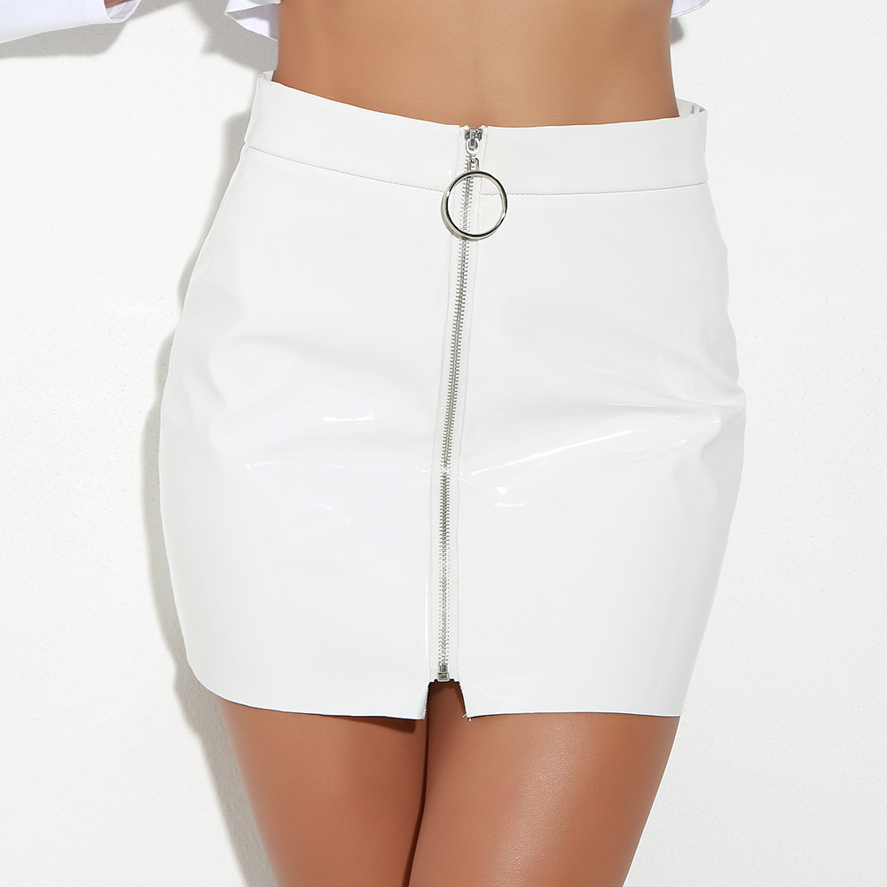 Sexy High Waist Faux PU Leather Mini Women Skirt Front Zip Pencil Bodycon Short Skirts Female Ladies White Skirt