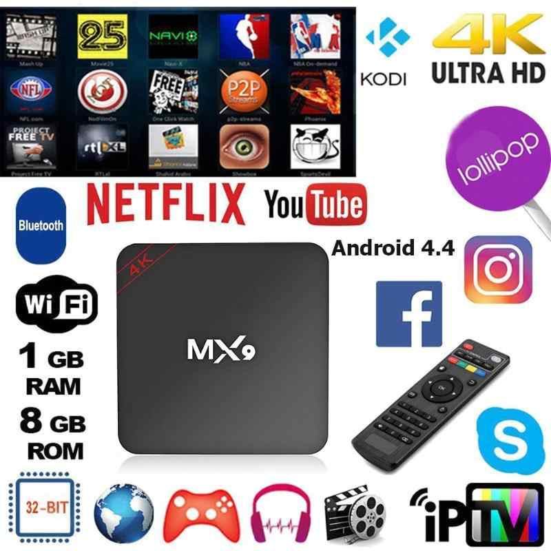 MX9 4K Quad Core 1GB RAM 8GB ROM Android 4.4กล่องทีวีHD HDMI SD 2.4GHz WiFi Set Top Box Media PlayerสนับสนุนAPPดาวน์โหลด