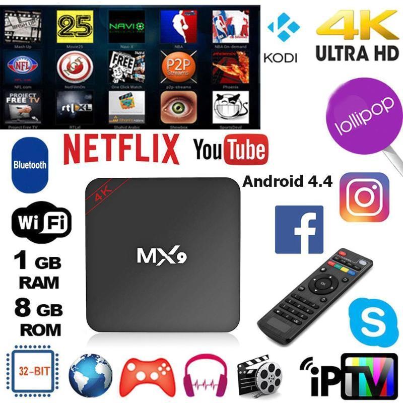 2020 New MX9 4K Quad Core 1GB RAM 8GB ROM Android 4.4 TV BOX 2.0 HD HDMI SD Slot 2.4GHz WiFi Set Top Box Media Player