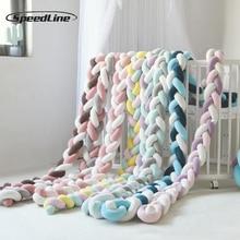 3 м смешанные цвета плетеная Накладка для детской кроватки узел Подушка плетеная Подушка для подушек для кроватки для детской кроватки, детская подушка для декора стен в детской комнате