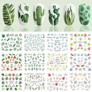 12 pcs Nail Stickers Set Mixed Flower Maple Leaf Geometric Nail Art Water Transfer Decals Sliders Floral Manicures Decoration