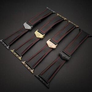 Image 5 - AKGLEADER Correa de cuero genuino de fibra de carbono para reloj, pulsera para Apple Watch Series 4, 5, 6, 40mm, 44mm, Series 3, 2, 38/42mm