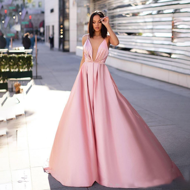 Sexy Pink A-Line Prom Evening Dresses 2020 Vintgae Spaghetti Backless Formal Party Gown Cheap Plus Size Gowns Celebrity Dresses