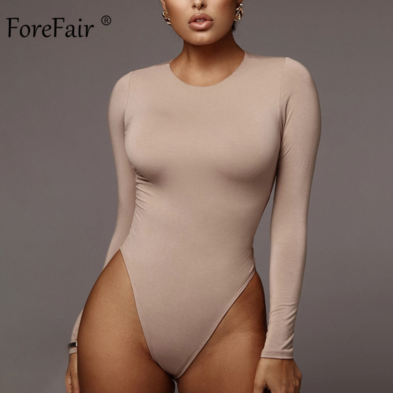 Forefair Long Sleeve Bodysuit Woman Sexy O Neck Bodycon Tops Solid Open Crotch Winter 2019 Cotton White Black Women Body