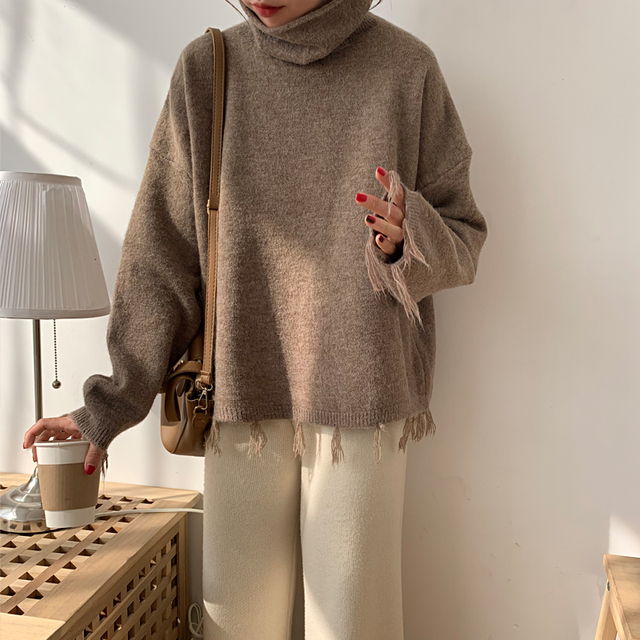 Ailegogo New Autumn Winter Women Sweater Casual Female Tassel Loose Fit Knitted Pullovers Turtleneck Short Ladies Knitwear Tops 6