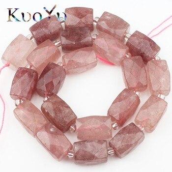 Natural genuino de cuentas de cuarzo de alta calidad facetada columna suelta perlas para fabricación de joyería Diy colgante pulseras 11x16mm