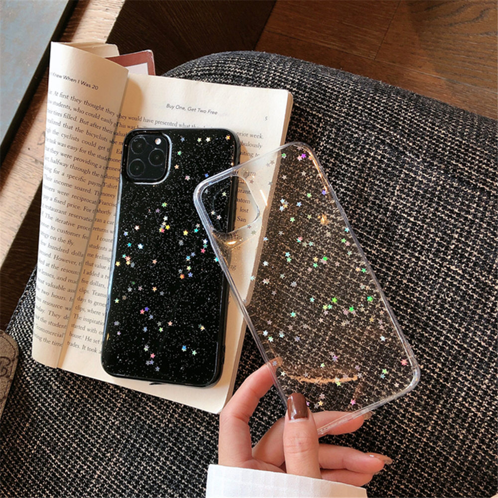 H30d6564b8d48411aae360707c995f6eeM - Ottwn Bling Stars Glitter Soft TPU Phone Case For iPhone 11 Pro X XR XS Max 7 8 6 6s Plus SE 2020 Transparent Powder Back Cover