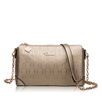 Spring leather women's bag small bag cowhide embossed chain bag Korean version single shoulder crossbody bag, hand bag