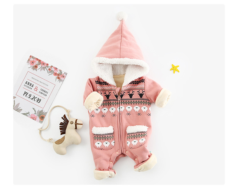 Image 2 - Baby Romper Newborn Autumn Winter Christmas Baby Clothes Fleece Baby Girl Romper Cotton Hooded Baby Jumpsuit Boy Romper Jumpsuit-in Rompers from Mother & Kids