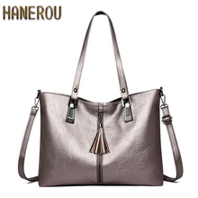 купить Classic Pu Leather Women Tote Bag Tassel Zipper Shoulder Bags Large Capacity Solid Ladies Handbag Fashion Casual Rivet Women Bag дешево