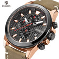 Ruimas Mannen Casual Quartz Horloges Luxe Lederen Chronograaf Horloge Man Top Brand Waterdicht Militaire Sport Horloge Klok 582