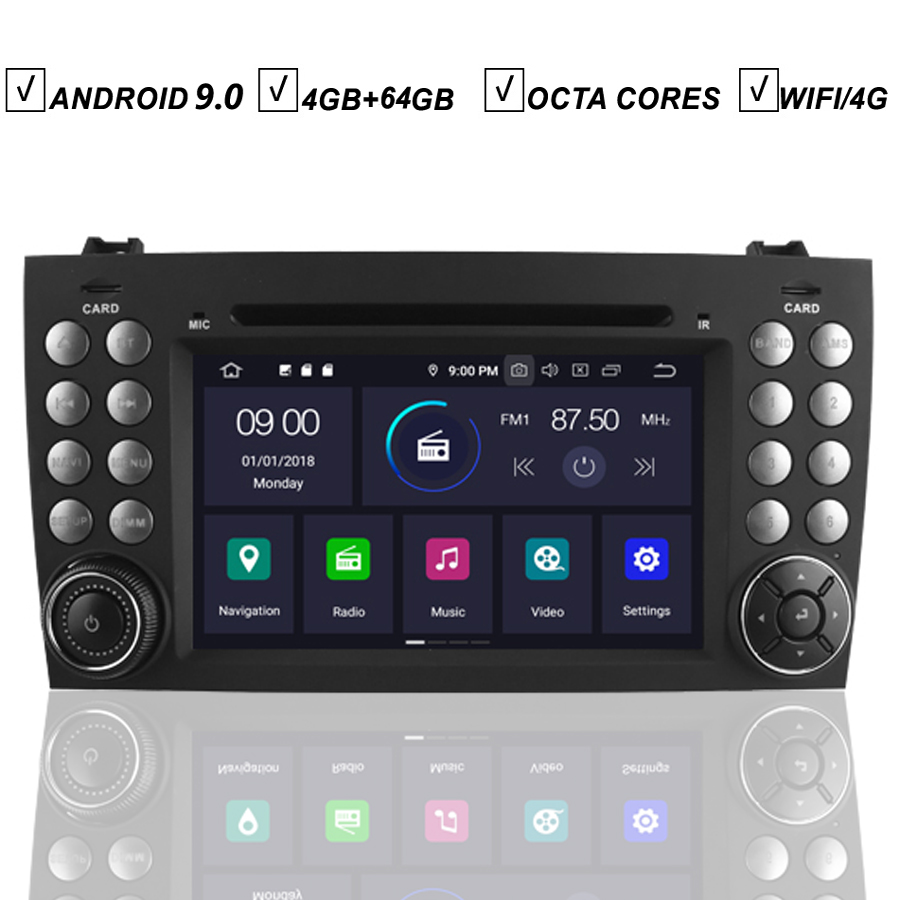 Car Android 10 DVD GPS Player for Mercedes Benz SLK R171 W171 SLK200 SLK280 SLK350 Radio Stereo Navigation BT Wifi/4G Map DAB+ image