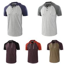 Summer Men T-Shirt Hoodies Casual Raglan Short Sleeve Hoodie