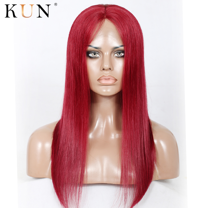 #99J Wine Red Lace Front Human Hair Wigs Ombre Silky Straight Human Hair Wig 13x6 Lace Front Wig Brazilian Remy Pre Plucked