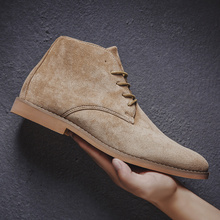Boots Men High Quality Chelsea Handmade Suede Leather Shoes Casual Ankle Boot Khaki Brown Black