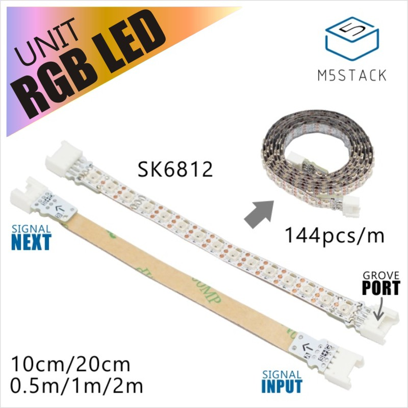 M5Stack Official RGB LEDs Cable SK6812 With GROVE Port 2m/1m/50cm/20cm/10cm