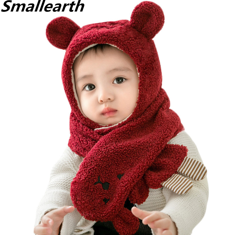 2019 New Winter Children Warm Thick Hat Scarf 2pcs Set Cute Bear Knitted Baby Hat Kids Beanies Caps Neck Warmers For Boy Girl