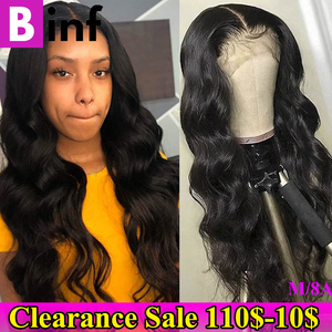 360 Lace Frontal Wig Body Wave Pre Plucked With Baby Hair 10-24 Inches Remy Hair Brazilian 360 Lace Wig Color 1B For Women(China)
