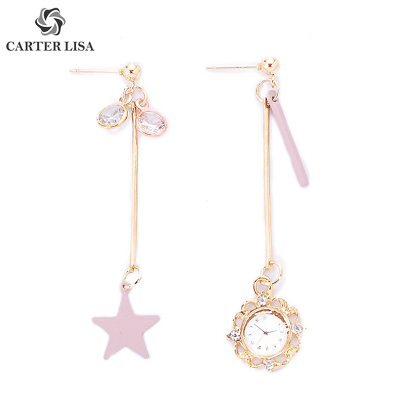 CARTER LISA Personality Gold Clock Stars Rhinestone Long Drop Earrings For Women Girl Ethnic Fashion Jewelry Party Gifts 2019