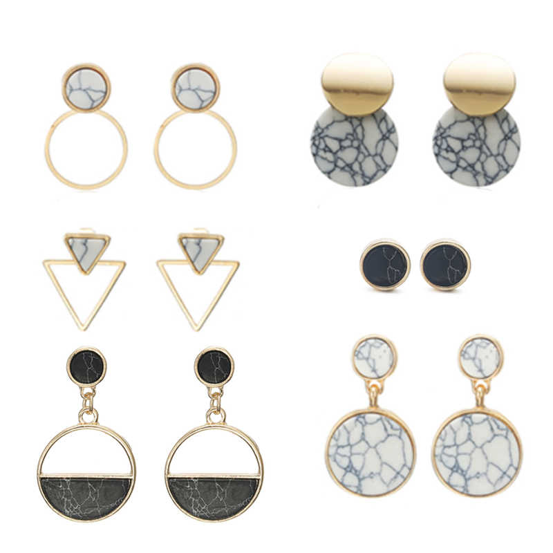 Find Me 2019 Simple Round Drop Earrings Women Geometric Marble Vins Dangle Fashion Glossy Plated Earrings Jewelry Accessories