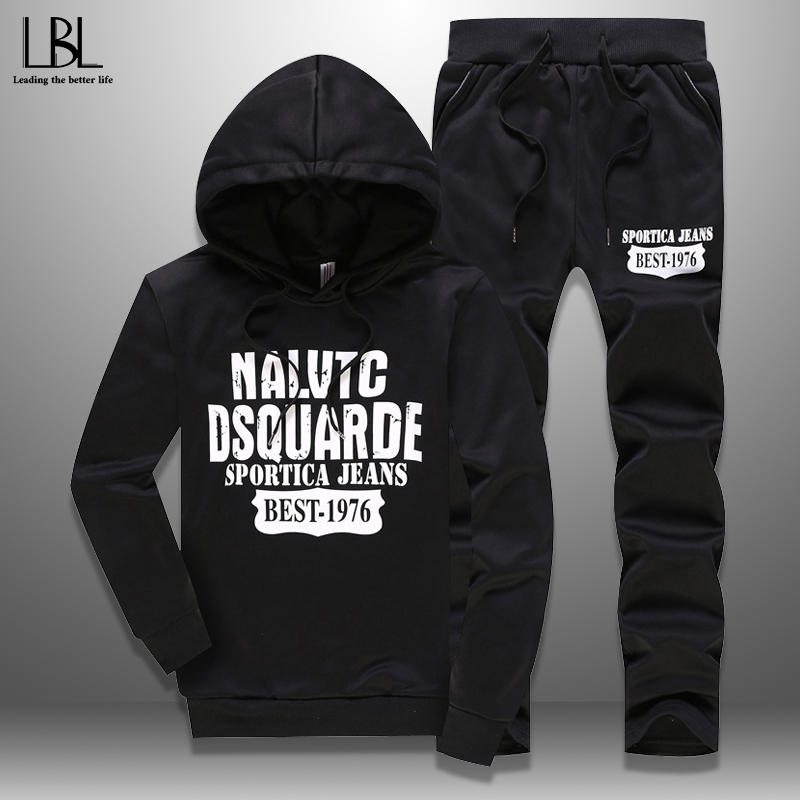 2020 Men's Tracksuits Spring Sportswear Men Set Outwear Hoodie + Sweatpants 2 Pieces Sets Pattern Plus Size 5XL Fitness Clothing