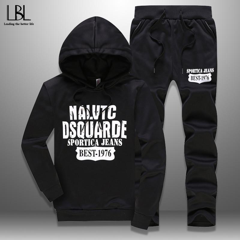 2020 Men's Tracksuits Spring Sportswear Men Set Outwear Hoodie + Sweatpants 2 Pieces Sets Pattern Plus Size 5XL Fitness Clothing