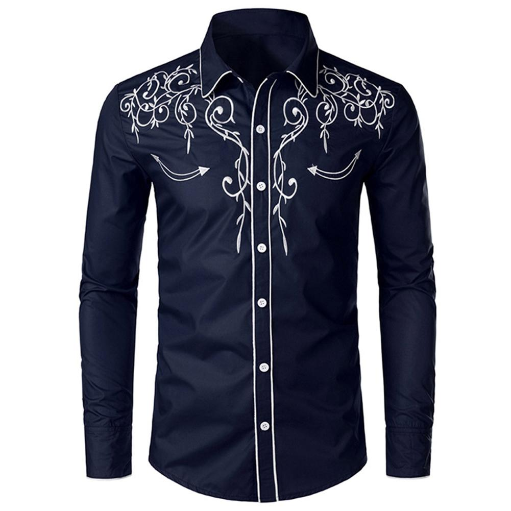 Men Shirts Solid Color Embroidered Long Sleeve Shirts Turn Down Collar Long Sleeve Shirt Top Office Meeting Vacation