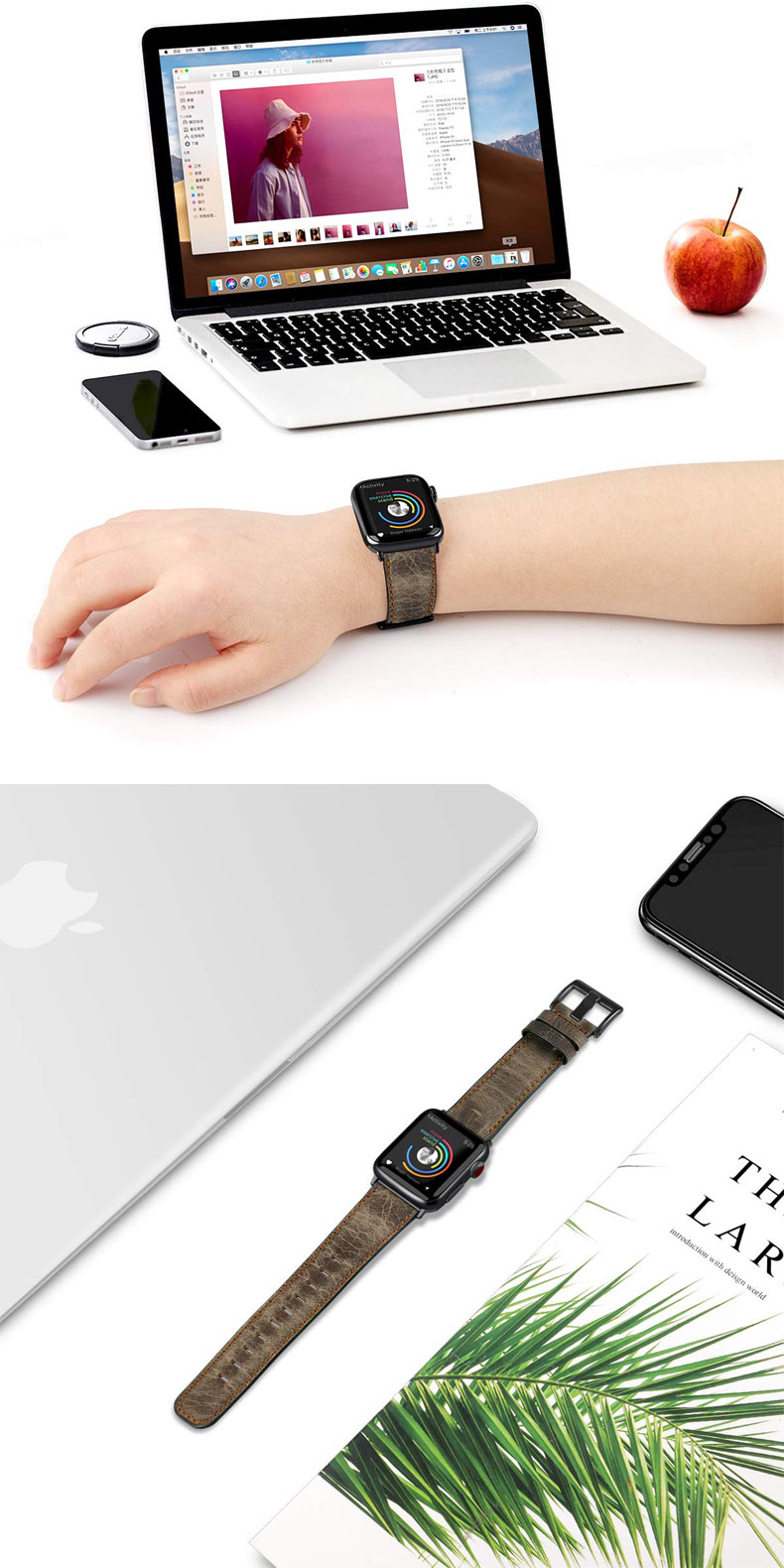 Retro Genuine Leather strap for Apple Watch band 44mm 40mm 42mm 38mm iwatch pulseira 5/4/3/2/1 wristbelt Accessories