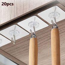 20 pçs forte auto-adesivo transparente cabides de parede ganchos porta sucção pesada carga rack copo otário para cozinha do banheiro