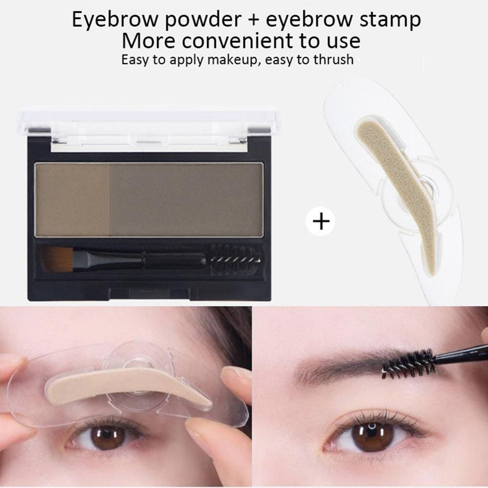 Double Color Eyebrow Powder Makeup Palette Natural Brown Eye Brow Enhancers 3D Eye Brows Shadow Cake Beauty Kit with Brush 2