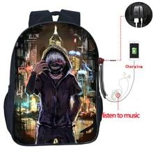 купить Tokyo Ghoul Usb Charge Backpack Fashion Usb Charging Travel Rucksack Students Boys Girls School Bag Teens Knapsack дешево